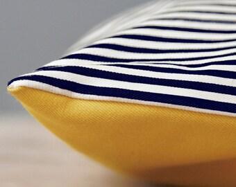 Designer Black and White Nautical Dog Bed Cover / Black and White Striped Canvas Pet Bed
