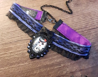 Handmade Miss BeetleJack necklace // Fanart of Beetlejuice and Mr Jack - Tim Burton