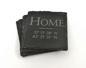 New Home Housewarming Gift Personalized, Home Coordinates Slate Coasters- Personalized and Engraved with GPS Coordinates Gift Set of 4