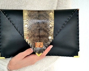 Black leather clutch with genuine snakeskin / Handmade leather bag / Envelope clutch / Envelope bag