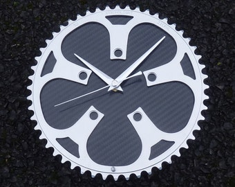 Large bike chainring & carbon fiber bicycle gear wall office kitchen workshop wall clock guys mans cyclist road cycling biker gift