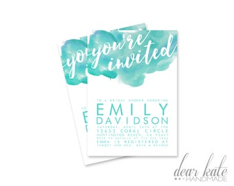 CUSTOM Bridal Shower Invitation- Simple Modern Watercolor