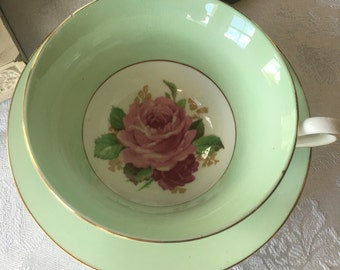 Rosina Teacup and Saucer Set  Mint Green vwith Pink Roses