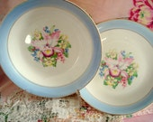Reserved for Suzanne Vintage Shabby Soup Bowls Blue Orchid Royal China Set of 2 Shabby Cottage Chic Vintage Wedding