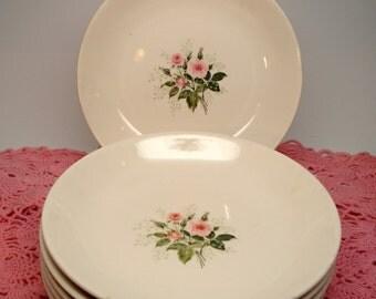 Vintage Wedding Soup Bowls Pink Rose Heather Rose Queen's Primrose Shabby Cottage Chic Set of 6 Vintage Bridal Shower
