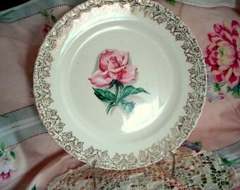 Vintage Wedding Dinner Plates Pink Beauty Rose Rhythm Rose Shabby Cottage Chic Set of 4 Vintage Bridal Shower