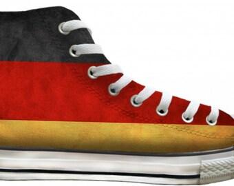 German Flag distressed Custom Deutschland Germany High Top Converse Mens w/ Swarovski Crystal Rhinestone Chuck Taylor All Star Sneaker Shoe