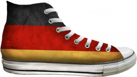 German Flag distressed Custom Deutschland Germany High Top Converse Mens w/ Swarovski Crystal Rhinestone Chuck Taylor All Star Sneaker Shoe