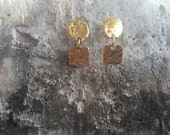 18k gold plated circle & square organic textured earrings