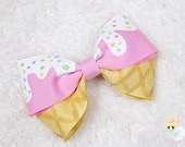 Ice Cream Party, Toddler Hair Bow, Pink Barrette, Kawaii hair clip, Hand Painted bow, Pastel Goth, Birthday hairbow, hair bow for girls
