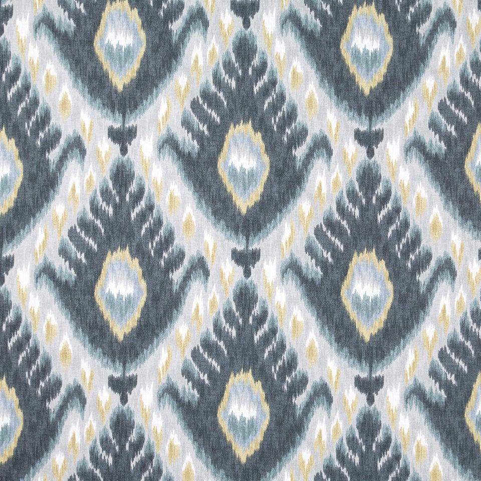 Indigo blue ikat upholstery fabric for furniture yellow grey for Furniture upholstery fabric