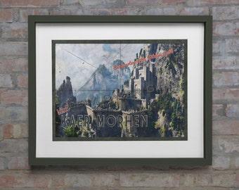 Kaer Morhen Poster | Witcher travel poster | Vintage travel poster | Videogame art