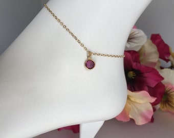 Gold Filled Anklet, February Birthstone Anklet,Swarovski February Anklet,Wedding Jewelry,Anklet Bracelet, Bridesmaids Jewelry, Bridal Anklet