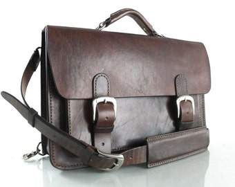 "Rustic Distressed Leather Messenger Bag  Leather Briefcase Laptop Satchel fits Macbook Pro 15"" 075"