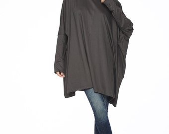 NO.62 Charcoal Cotton Jersey Oversized T-Shirt Tunic  Sweater, Women's Top