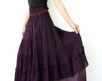 NO.36 Dark Purple Cotton Tiered Peasant Skirt, Long Maxi Skirt