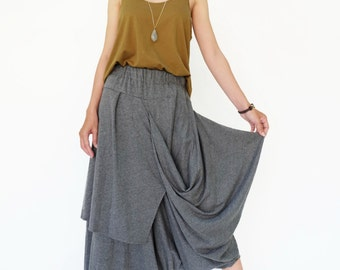 NO.187 Heather Gray Cotton Jersey Taxidermy Skirt/Pants, Asymmetric Capri Trousers, Unisex skirt/Pants
