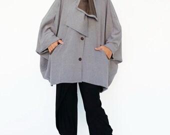 NO.195 Brown Viscose Batwing Sleeve Cardigan, Bow Collar Jacket, Loose Sweater, Poncho, Coat