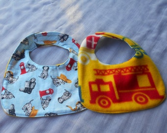 Dalmation Puppy FIREMAN BABY BIBS with fire trucks on other side and fastened with Velcro