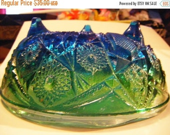 25% Off Storewide Sale Vintage Jeanette Glass Company Blue Green Flash Sandwich Glass Footed Bowl