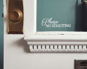 """Handmade """"Please No Soliciting"""" Vinyl Door Sticker - No Soliciting Sign - Custom Door Sign"""