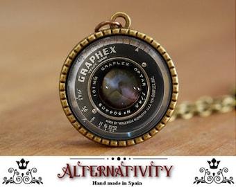 Camera lens necklace, Camera lens pendant, Vintage grahpex lens, Vintage Camera lens necklace (112)