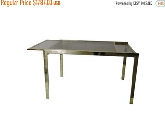 Half Price SALE DIA Brass Extension Dining Table. 70's