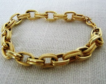 GOLD-WASHED BRACELET Vintage Link Charm Bracelet Electroplated Gift Wedding Bridal Bridesmaid