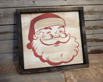 Santa Claus wood framed sign ... Christmas decor ... Holiday decor