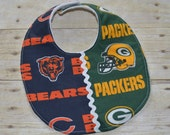 Wisconsin Green Bay Packers and Chicago Bears House Divided Baby Bib