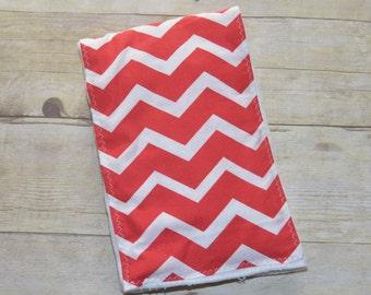 Red and White Chevron Baby Burp Cloth