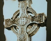 Celtic Cross pyrography on Paper wood burn on paper