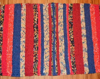 Red White & Blue Rag Rug, Cottage Rag Rugs, Farmhouse Decor, Farmhouse Rag Rugs, Handmade Loom Rugs, Kitchen Rugs, Hand Woven Rugs