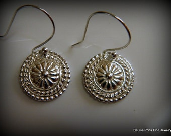 Recycled Silver, Mandala, Flower, Earrings, Eco Friendly, Gift, Bridesmaids Gift