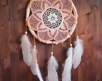 Dream Catcher - Wonderful Summer - Unique Dream Catcher with Transitional Handmade Crochet Web and Rose Feathers
