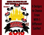 Printable Castle Family Iron On Transfer - DIY Disney Shirts - Personalized Matching Family Disney Shirts - DIY Cruise Door Magnet