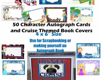 Character Autograph Cards for Disney Cruise - DIY Autograph Book - Instant Download - Disney Cruise Autograph Book
