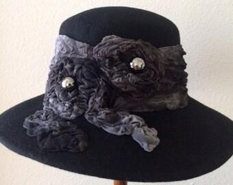 Black Wool Felt Hat One-Of-A-Kind