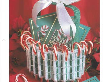 Pleated Basket Plastic Canvas Pattern, Christmas Decoration, Christmas Card Holder, Candy Cane Basket, Holiday Decor, Annie's International