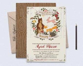 Woodland Baby Shower Invite/Forest Animals Baby Shower