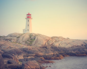 Lighthouse Art - Peggy's Cove Lighthouse - Landscape Print - Canada Maritimes Photo - Sunset Photo - Vintage Lighthouse Art