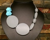 Silicone Teething and Nursing Necklace- Sky