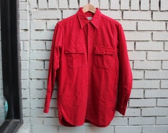 Vintage L.L. BEAN Flannel Shirt 1960's Jacket RED Button Up warm soft hunting outdoors hiking outerwear vtg ll bean flannel