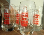 4 x Vintage Half Pint Glass with Milk Bottle Advertisment ' Nice Cold Ice Cold Milk'