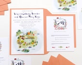 Maine island wedding invitation and rsvp with map
