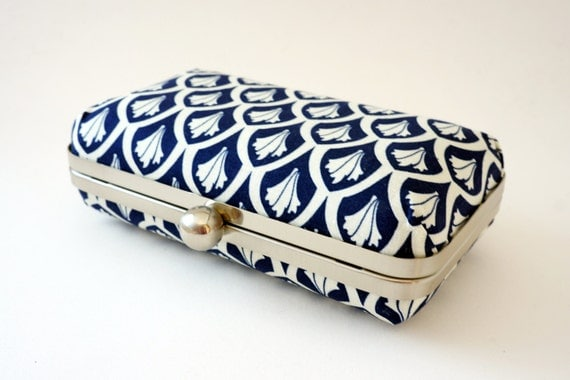 Navy & Ivory 1920's Inspired Bridal Minaudiere Box Clutch - Evening/Bridesmaid Handbag - Includes Chain - Made to Order
