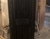 50/12/14/ GUN CABINET antique white with natural stained door panels
