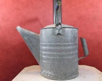 Vintage Metal Watering Can with Wood Handle