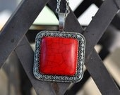 Stunning Bright Red Squre Turquoise Necklace