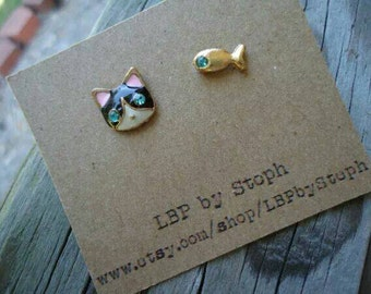 Dainty Cat and fish earrings